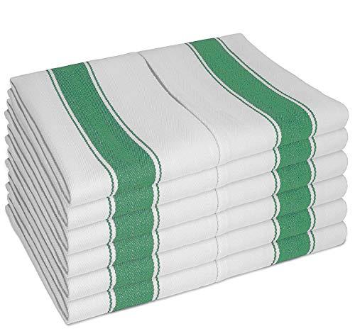 SMARTZ PAÑOS DE COCINA clásicos con lazo - 12 unidades (100% de algodón, 70x50cm) - duraderos y absorbentes, color blanco con rayas verdes - Diseño único para un secado rápido, no deja pelusa