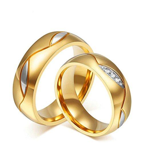 Aooaz Schmuck Damen Ring Hochzeit Ringe Runde Form Blatt Breite 6mm Edelstahl Ehering Gold Verlobungsringe für Damen Größe 67(21.3) (Mädchen Ringer Herz)