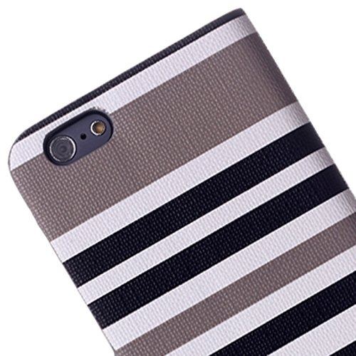 Pour IPhone 6 & 6S, Variegated Stripe Texture Housse en cuir Flip Horizontal avec support pour IPhone 6 et 6S JING ( Color : Dark Blue ) Grey