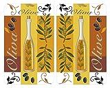 WENKO 2521446500 Herdabdeckplatte Universal Oliven - 2er Set, für alle Herdarten, Gehärtetes Glas, 30 x 1.8-4.5 x 52 cm, Mehrfarbig -