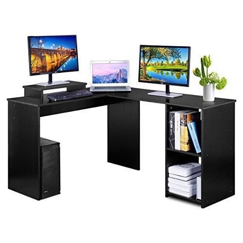 DOSLEEPS Escritorio para ordenador, en forma de L, esquina, grande, para ordenador portátil, escritorio, mesa de estudio, mesa de trabajo, mesa de juegos, escritorio para casa y oficina, pequeño espacio, color negro grano de madera