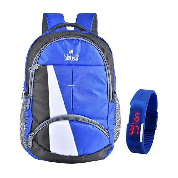 Blutech Polyester 36 Liters Waterproof Royal Blue School Backpack+Comes With Blue Digital Led Unsex Watch,2522442