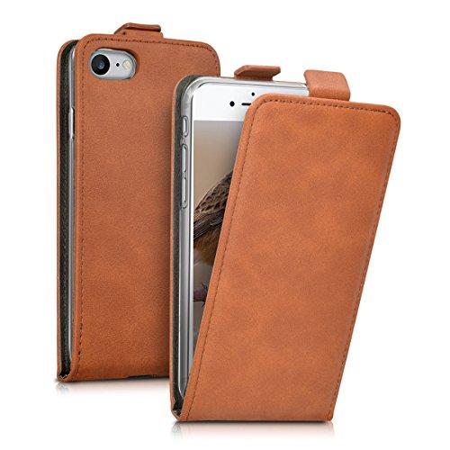 kwmobile Hülle für Apple iPhone 7 / 8 - Flip Case Handy Schutzhülle Kunstleder - Flipcover Cover Cognac