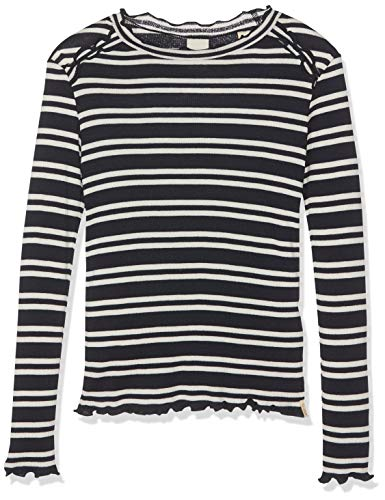 Yarn Dye Stripe Shirt (Scotch & Soda R´Belle Mädchen Fitted Long Sleeve Tee in Yarn dye Stripes with Ruffles Langarmshirt, Mehrfarbig (Combo D 220), 116 (Herstellergröße: 6))