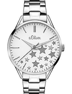 S.Oliver Damen-Armbanduhr Analog Quarz One Size, weiß, silber