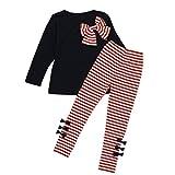 Ensemble à Manches Longues, Internet Bébé Fille Bowknot Robes T-Shirt + Pantalon rayé Mélange de coton (2-3 Ans, Rose)