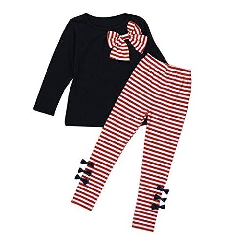 Ensemble à Manches Longues, Internet Bébé Fille Bowknot Robes T-Shirt + Pantalon rayé Mélange de coton (2-3 Ans, Bleu Marine)