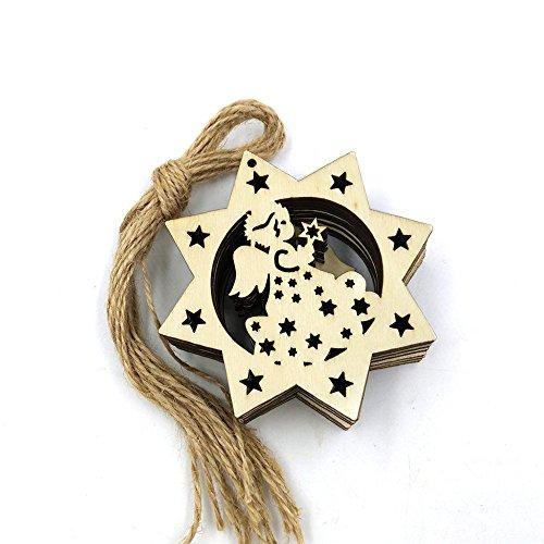 Prevently 10 Tannenschmuck Hollow Geschenkanhänger Anhänger für Weihnachten Adventskalender Geschenk Etiketten Runde Spitze Schneeflocke Dekoration Holzschnitzel