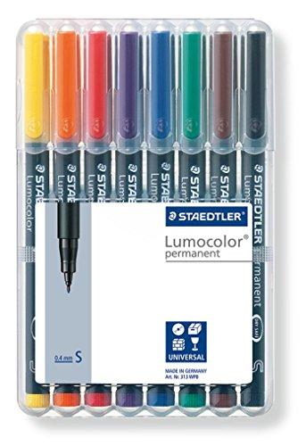 Staedtler Lumocolor 313 WP8 Feinschreiber Universalstift, permanent, Staedtler Box mit 8 Farben 0, 4...