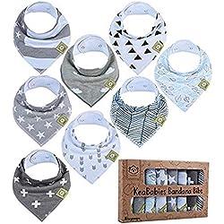 Baberos tipo bandana para bebés - Baberos tipo bandana para niños, niñas, de KeaBabies- Baberos tipo bandolera súper absorbentes - Baberos para la dentición (paquete gris)