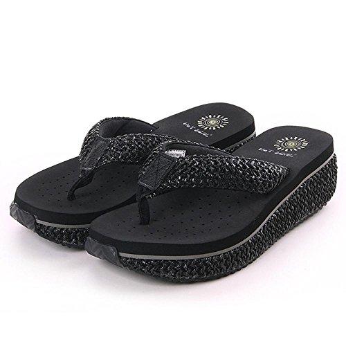 Grace Femmes Wedge Shoes Flip Flop Flop Loisirs Sandales Plus De Couleurs À Choisir Noir