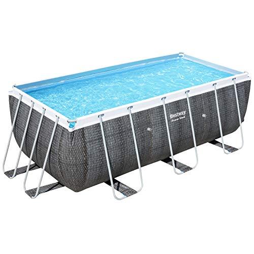 Bestway Power Steel Frame-Pool, 412 x 201 x 122 cm, rechteckig, Rattan grau, 8.124 Liter, ohne Pumpe und Zubehör, Ersatzteil, Ersatzpool