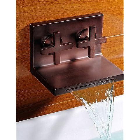 Luxury classic olio antichi strofinato cascata di bronzo a caldo e a freddo i rubinetti del lavandino rubinetto CSÁSZÁR - Ottone 3 Pollici Casa Numero