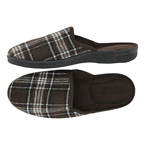 Herren Hausschuh Karierte-Pantoffeln Schluppen - optimaler Komfort und flexibilität - Farben: Grau/Braun und Grau/Schwarz - Größen: 41-46 - von Brandsseller Grau/Braun