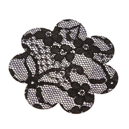 Generic 20pz Donna Fiore Pasties Capezzolo Seno Coprono Adesivo Reggiseno Sexy Copricapezzoli 2-colore - nero, taglia unica