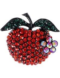 Ruby con cristales de imitación Emerald mascotas hojas profesor Apple Fruit broche con forma de Pin