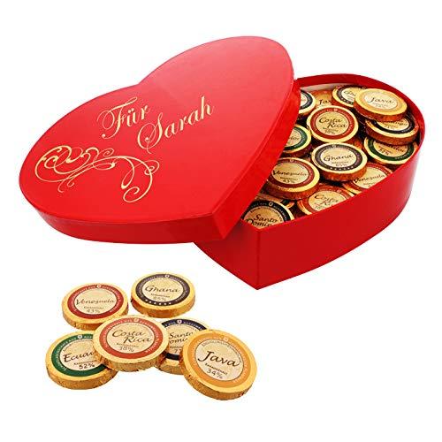 Premium-Schoko-Herzbox mit Namens-Gravur - das süße Geschenk zum Valentinstag