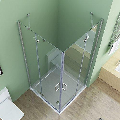 80 x 80 x 195 cm Duschkabine Eckeinstieg Dusche Falttür Duschwand Duschabtrennung NANO Glas