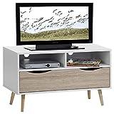 Meuble banc TV design GENOVA MDF décor blanc chêne sonoma