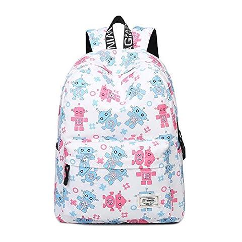 Joymoze Waterproof Lightweight Cute Backpack for Girl Fashion Print Rucksack for Women Robot 837