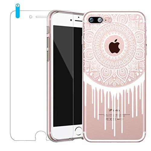 Cover iPhone 7 [Pellicola Protettiva in Vetro Temperato], Bestsky Custodia iPhone 8 Trasparente Silicone Tribal Henna Mandala Disegni Antiurto Protettiva Shell Case per iPhone 7/8 #07