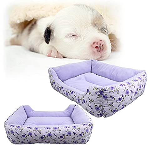 SymbolLife Rectangle Cozy Pet Bed with Fleece Lining for Dogs Cats, Fully Washable Light Purple