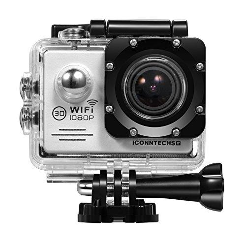 ICONNTECHS IT Action Cameras C2 Sport Action Camera, Full HD 1080P, Impermeabile, Lente Grandangolo 170°, Videocamera WiFi HDMI, Accessori per Caschi, Immersioni Sub, Bicicletta e Sport Estremi, Argento