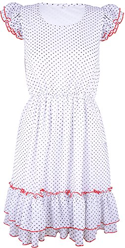 Küstenluder DOTTY Pin Up CHIFFON Polka Dots 50s KLEID / Dress Rockabilly Weiß / Rot mit schwarzen Dots
