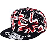 Sombrero De Hiphop Casquillo Jack Unión Bandera Británica Snapback Para Amantes Hombres Mujeres Unisex - Negro, L