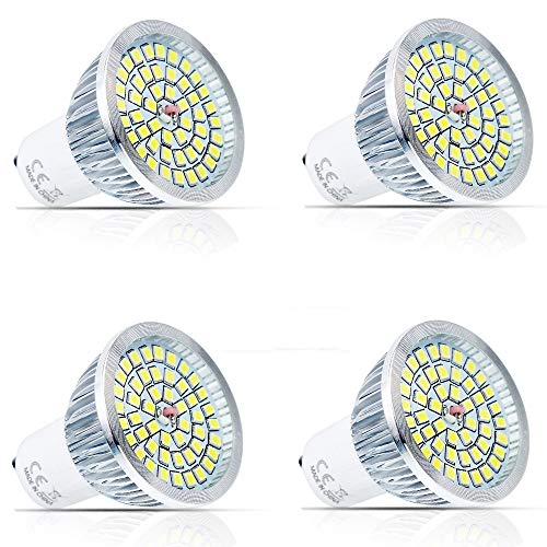 520lm Led-licht (4 Stück GU10 6W LED Rampenlicht Lampe Birne 48x 2835 SMD LEDs LED Strahler Licht LED Leuchtmittel(520LM, Kaltweiß 6000K, AC85-265V) Energiesparlampe Licht)