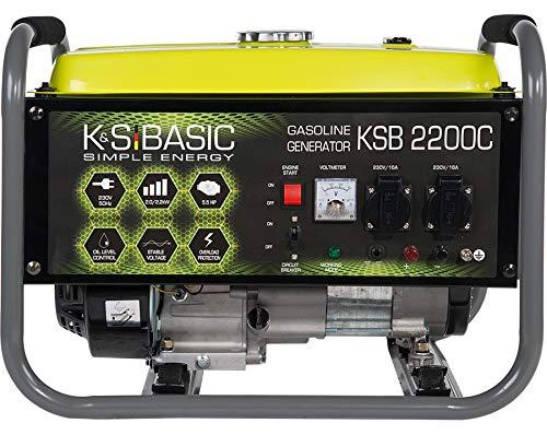 Könner & Söhnen KSB 2200C Stromerzeuger, 5,5 PS 4-Takt Benzinmotor, Kupfer Alternator, Automatischer Spannungsregler (AVR), 2200 Watt, 16A, 230V Generator, für den Heim- und Freizeitbedar