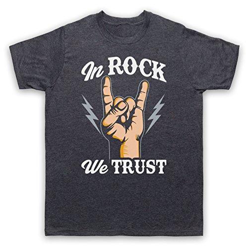In Rock We Trust Music Slogan Herren T-Shirt Jahrgang Schiefer