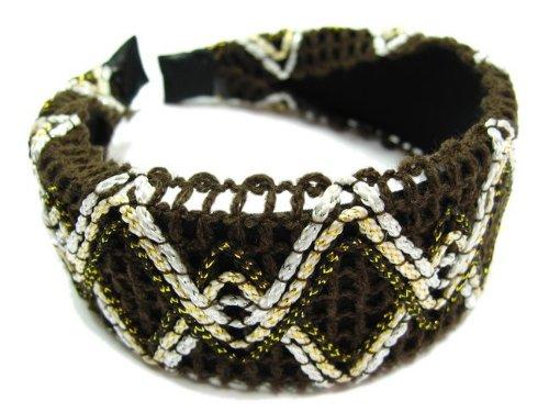 rougecaramel - accessoires cheveux - Serre tête/headband large tricoté - marron chocolat