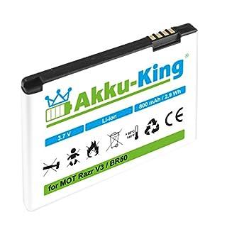Akku-King Battery for Motorola Razr V3, Razr V3i, PEBL U6 - replaces BA700, Prolife 500 - BR50 - Li-Ion - 800mAh