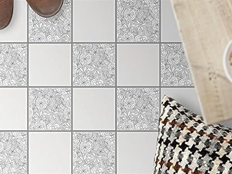 Sticker carrelage salle de bain sol | Stickers mosaïques - Aménagement de sanitaires | Design Creative Lines | 15x15 cm - 9 pièces (3x3)