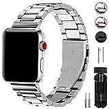 Fullmosa Kompatibel Apple Watch Armband 42mm, Rostfreier Edelstahl Watch Ersatzband für iWatch/Apple Watch Serie 3 Serie 2 Serie 1, 42mm Silber