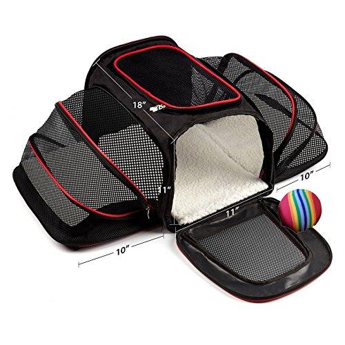 Transporttasche für Haustiere mit ein Haustier Ball Spielzeug transportbox hunde im auto faltbar flugzeug günstig gulliver schwarz Bequeme Zweiseitige und Erweiterbare Faltbare Haustiertrage, Weiches Haustierbett