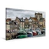 Premium Textil-Leinwand 90 cm x 60 cm quer, Hafen in Barfleur | Wandbild, Bild auf Keilrahmen, Fertigbild auf echter Leinwand, Leinwanddruck (CALVENDO Orte)