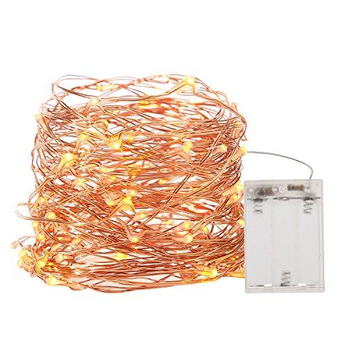 MeOkey 10M 100 LED Kupfer Kabel LED Lichterkette, Wasserdicht Batteriebetrieben Weihnachten Stimmung Beleuchtung Gelb
