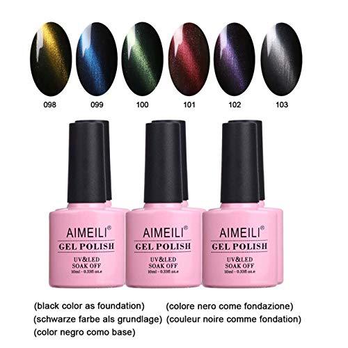 AIMEILI UV LED Gellack Set Magnetisch Cat Eye Range mehrfarbig ablösbarer Nagellack Gel Polish Set - 6 x 10ml - Set Nummer 27