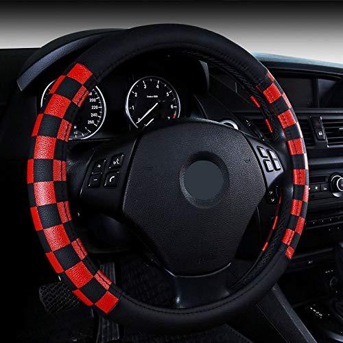 WLFXPT Auto Lenkradbezug PU Leder Grau/Schwarz/Beiga Auto Radkappen Styling Lenk Cheel Hubs Ford Tiguan Red