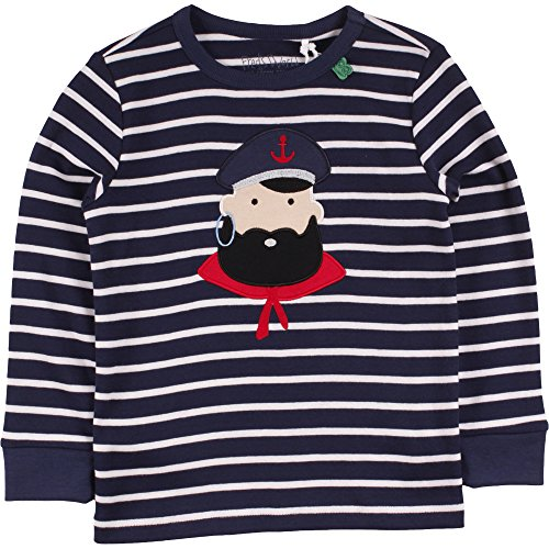 Fred's World by Green Cotton Jungen T-Shirt Stripe Captain T, Blau (Navy/Cream 019800002), 128 (Stripe Cotton Herren)