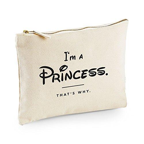 (VISUAL STATEMENTS® Make-up Tasche in Naturfarben mit Spruch/Viele verschiedene Sprüche/100% Gebürstete Baumwolle 407 g/m²/Mit Metallreißverschluss/Kosmetiktasche/Clutch/Princess)