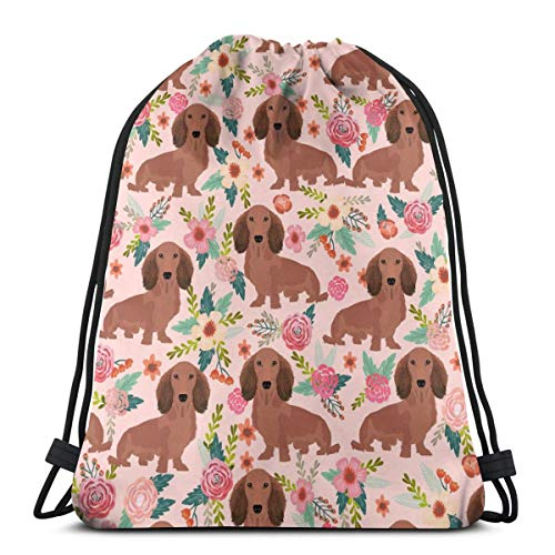 Dachshunds Floral Fabric Dogs Doxie Fabrics Cute Doxie Weiner Dogs Fabric Cute Dogs Florals Design 3D Print Drawstring Backpack Rucksack Shoulder Bags Gym Bag for Adult Child 16.9
