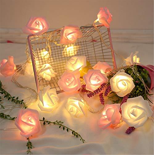 MS.REIA Romantische Rose Lichterketten USB-Anschluss, LED Hochzeit Dekor Beleuchtung (3m 20 Lichter) Garten Home Schaufenster Rosa Rot Weiß