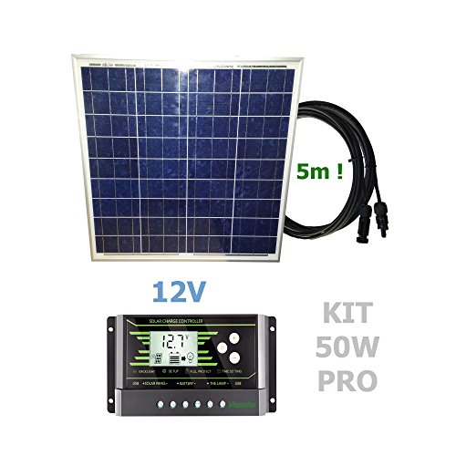 Kit 50W PRO 12V panel solarComposición del Kit Solar:Panel solar fotovoltaico 50W 12V cable 5mRegulador solar de 20A 12V/24V con display y 2 USB LCD VIASOLAR Especificaciones técnicas:Panel solar fotovoltaico 50W 12V cable 5m Cell Size: 156mmx56mm Mo...