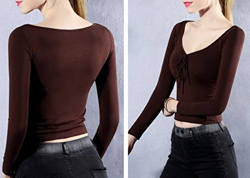 Smile YKK Top Court Femme Coton T-shirt Manche Longue Chemise Blouse Pull Col V Soirée Elégant Café