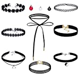 Anni Coco® Classic Black Velvet Lace Tattoo Gothic Choker Necklace with 3 Additional Pendant for Women Girls, Pack of 8