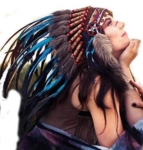 Listo para Halloween. N55 india Azul claro / turquesa y tocado de plumas oscuro / Warbonnet.