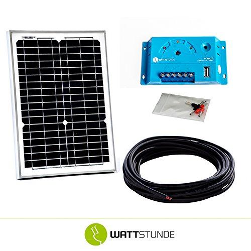 WATTSTUNDE® 20W Solaranlage 12V Solar Bausatz, Solarmodul Laderegler - Inselanlage Set zb Weidezaun
